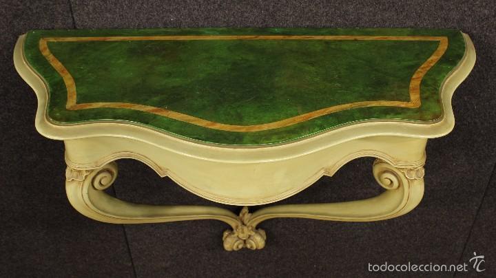 Antigüedades: Consola veneciana lacada y pintada - Foto 3 - 58800911