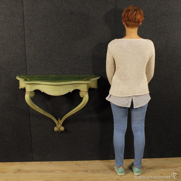 Antigüedades: Consola veneciana lacada y pintada - Foto 12 - 58800911