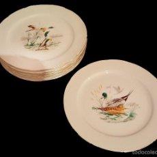 Antiquitäten - 6 platos de porcelana , escenas de patos , filo dorado.Aloya. - 58841036