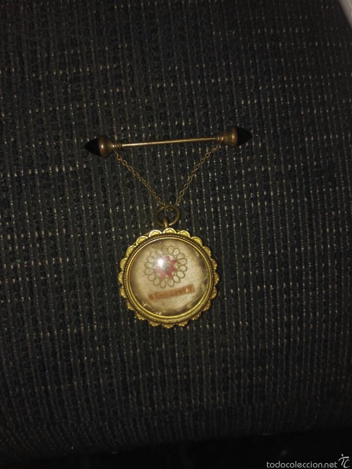 Antigüedades: Relicario muy antiguo con broche con cadenita y desenrosca - Foto 11 - 58961510
