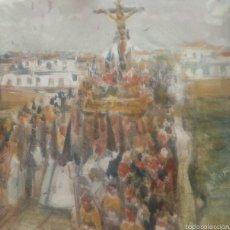 Antigüedades: AZULEJO DE CERÁMICA PINTADO A MANO.CRISTO DEL CACHORRO POR EL PUENTE DE TRIANA. 20 X 20 CM.. Lote 58982372