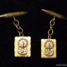 Antigüedades: ANTIGUA PAREJA DE GEMELOS DE LA VIRGEN DEL PILAR. AÑOS 20. Lote 58990475