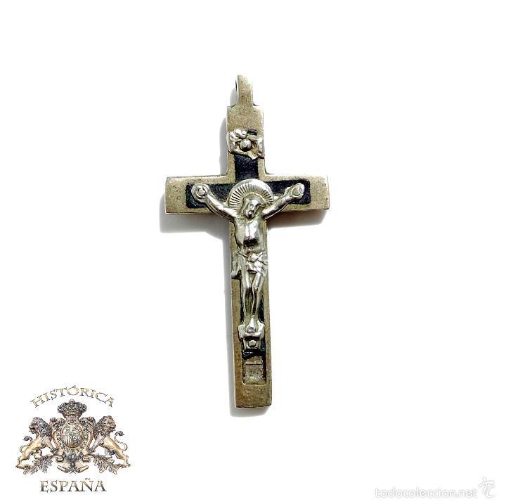 ANTIGUO CRUCIFIJO EN METAL Y MADERA ,S.XIX. 5,5 CM DE ALTO (Antigüedades - Religiosas - Crucifijos Antiguos)