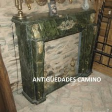 Antigüedades: ANTIGUA CHIMENEA DE MARMOL TRAVERTINO VERDE BRONCE. Lote 59036865