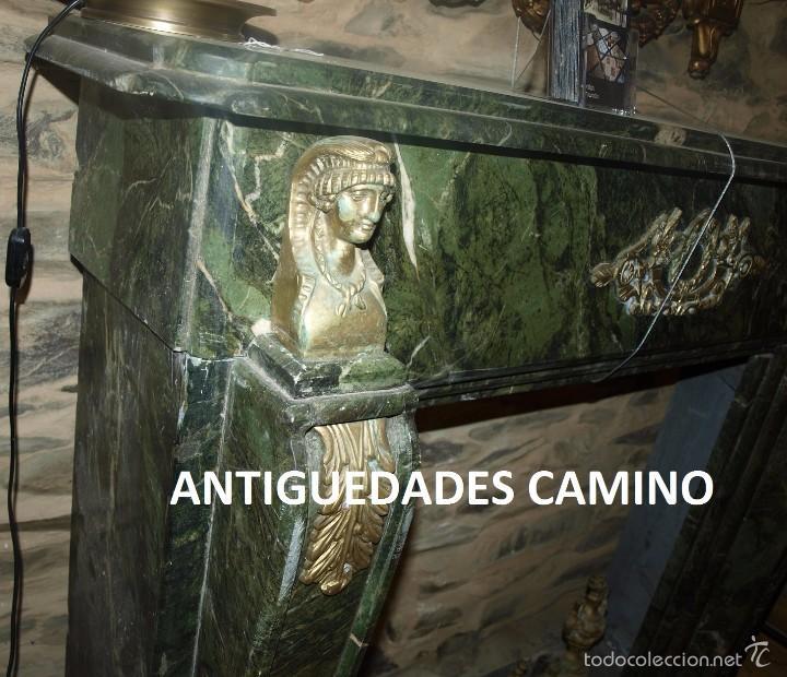 Antigüedades: Antigua CHIMENEA DE MARMOL TRAVERTINO VERDE bronce - Foto 3 - 59036865