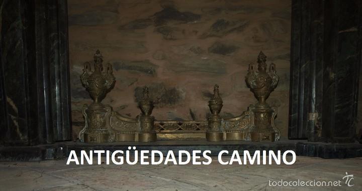 Antigüedades: Antigua CHIMENEA DE MARMOL TRAVERTINO VERDE bronce - Foto 4 - 59036865