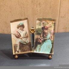 Antigüedades: PORTAFOTOS DOBLE DE CRISTAL Y BRONCE DORADO, ORIGINAL DE FRANCIA S. XIX. Lote 59086115