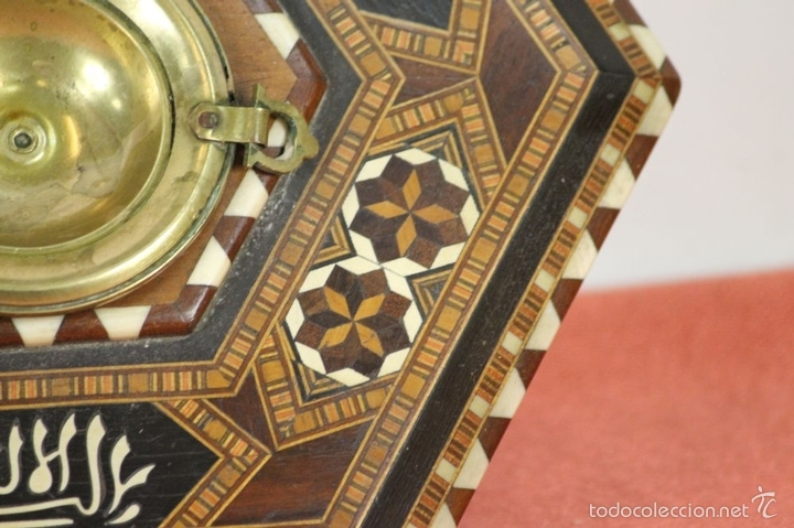Antigüedades: CENICERO EN MINIATURA. MADERA TARACEADA. GRANADA. SIGLO XX. - Foto 5 - 59132620