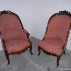 Antigüedades: PAREJA SILLONES SEÑORA Y CABALLERO . Lote 59135680