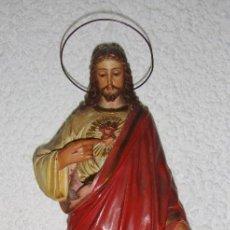 Antigüedades: SAGRADO CORAZÓN DE JESÚS. PASTA DE OLOT. OJOS DE CRISTAL.. Lote 59163755