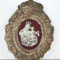 Antigüedades: VIRGEN DEL PILAR BAJO RELIEVE. MARCO EN PLATA. ESPAÑA. CIRCA 1940.. Lote 59146680