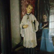 Antigüedades: ANTIGUA PRECIOSA IMAGEN DE SAN LUIS GONZAGA ESCUELA OLOTINA SELLO OLOT OJOS DE CRISTAL 31.5 CM . Lote 76658049