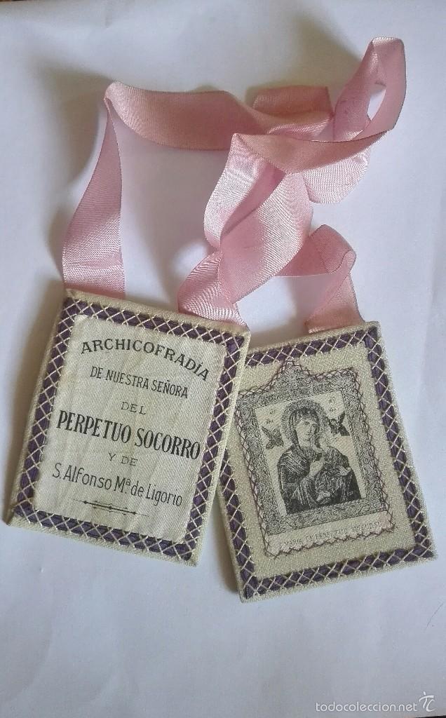 ESCAPULARIO VIRGEN PERPETUO SOCORRO Y SAN ALFONSO MARIA LIGORIO (Antigüedades - Religiosas - Escapularios Antiguos)