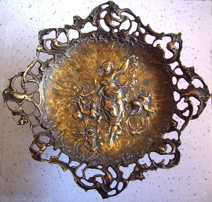 Antigüedades: ANTIGUO CENTRO DE MESA O FRUTERO EN BRONCE . DIOSA NINFA DE LA MITOLOGIA GRIEGA - Foto 2 - 59559723