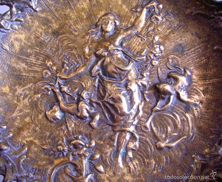 Antigüedades: ANTIGUO CENTRO DE MESA O FRUTERO EN BRONCE . DIOSA NINFA DE LA MITOLOGIA GRIEGA - Foto 3 - 59559723