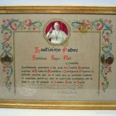 Antigüedades: BENDICION INDULGENCIA PLENARIA ANTE EL SANTISIMO PAPA PADRE JUAN XXIII - ENMARCADO. Lote 59568575