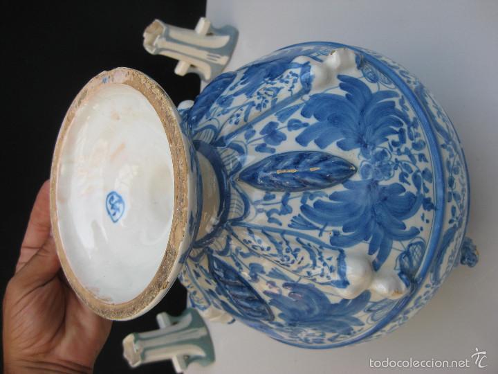 Antigüedades: COTIZADISIMO GRAN JARRON ANFORA TALAVERA CERAMICA ANTIGUA CIRCA 1920 RUIZ DE LUNA EN AZUL COBALTO - Foto 12 - 59579315