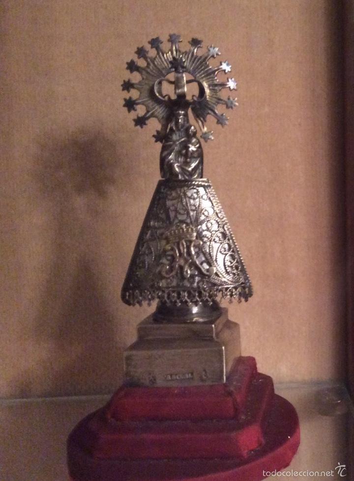 VIRGEN DEL PILAR DE PLATA SIGLO XIX (Antigüedades - Religiosas - Orfebrería Antigua)