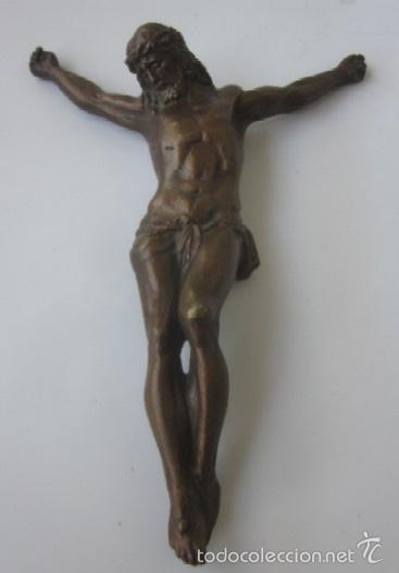 IMAGEN CRUCIFICADO EN BRONCE - CRISTO DE TRES CLAVOS (Antigüedades - Religiosas - Crucifijos Antiguos)