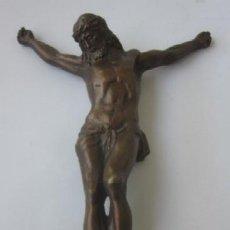 Antigüedades: IMAGEN CRUCIFICADO EN BRONCE - CRISTO DE TRES CLAVOS. Lote 59583295