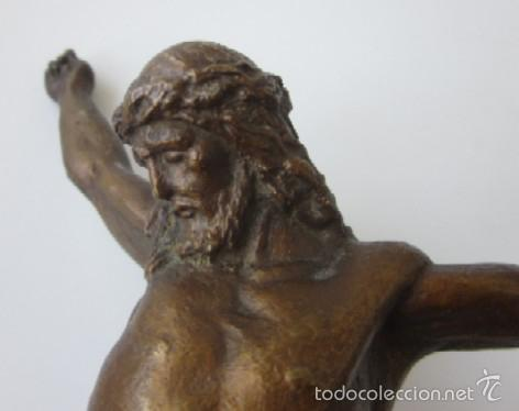 Antigüedades: IMAGEN CRUCIFICADO EN BRONCE - CRISTO DE TRES CLAVOS - Foto 2 - 59583295