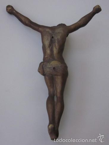 Antigüedades: IMAGEN CRUCIFICADO EN BRONCE - CRISTO DE TRES CLAVOS - Foto 4 - 59583295