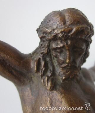 Antigüedades: IMAGEN CRUCIFICADO EN BRONCE - CRISTO DE TRES CLAVOS - Foto 5 - 59583295
