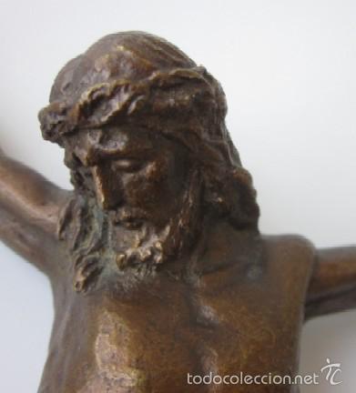 Antigüedades: IMAGEN CRUCIFICADO EN BRONCE - CRISTO DE TRES CLAVOS - Foto 6 - 59583295