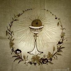 Antigüedades: MANTEL DE COMULGAR. LINO BORDADO A MANO. ESPAÑA. FIN SIGLO XIX.. Lote 59588567