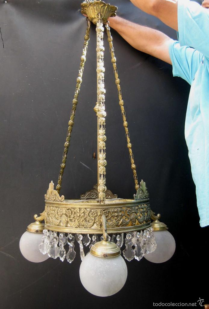 FANTASTICA LAMPARA ANTIGUA CIRCA 1900 ART NOUVEAU LATON DORADO CAREY Y CRISTAL (Antigüedades - Iluminación - Lámparas Antiguas)