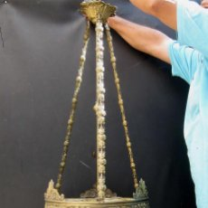 Antigüedades: FANTASTICA LAMPARA ANTIGUA CIRCA 1900 ART NOUVEAU LATON DORADO CAREY Y CRISTAL. Lote 59590839