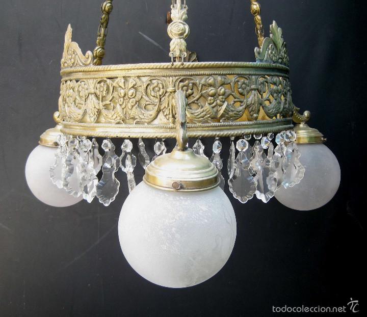 Antigüedades: FANTASTICA LAMPARA ANTIGUA CIRCA 1900 ART NOUVEAU LATON DORADO CAREY Y CRISTAL - Foto 2 - 59590839