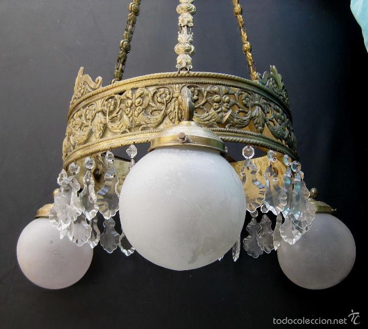 Antigüedades: FANTASTICA LAMPARA ANTIGUA CIRCA 1900 ART NOUVEAU LATON DORADO CAREY Y CRISTAL - Foto 3 - 59590839