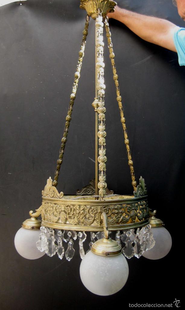 Antigüedades: FANTASTICA LAMPARA ANTIGUA CIRCA 1900 ART NOUVEAU LATON DORADO CAREY Y CRISTAL - Foto 4 - 59590839