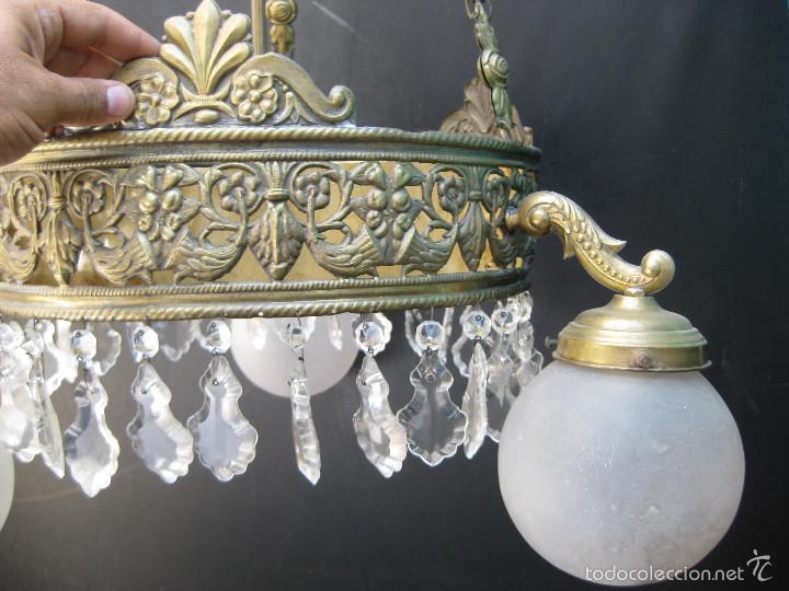 Antigüedades: FANTASTICA LAMPARA ANTIGUA CIRCA 1900 ART NOUVEAU LATON DORADO CAREY Y CRISTAL - Foto 5 - 59590839