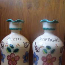 Antigüedades: ACEITERA Y VINAGRERA DE PUENTE DEL ARZOBISPO. ALTURA 22 CM. Lote 59599095