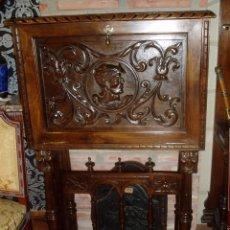 Antigüedades: BARGUEÑOS PAPELERA TALLADO. NOGAL. Lote 59609815