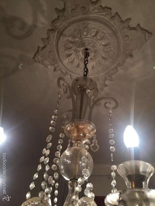 L mpara ara a grande con l grimas de cristal comprar l mparas antiguas en todocoleccion 59592327 - Lamparas de arana de cristal ...