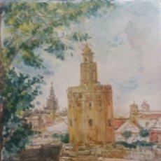 Antigüedades: AZULEJO PINTADO A MANO SEVILLANO. VISTA DE LA TORRE DEL ORO. 20X30 CM.. Lote 59637167
