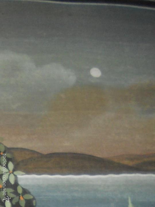 Antigüedades: ANTIGUO TAPIZ DE SEDA PINTADO A MANO CON SU MARCO DE MADERA LACADA - Foto 8 - 59648551