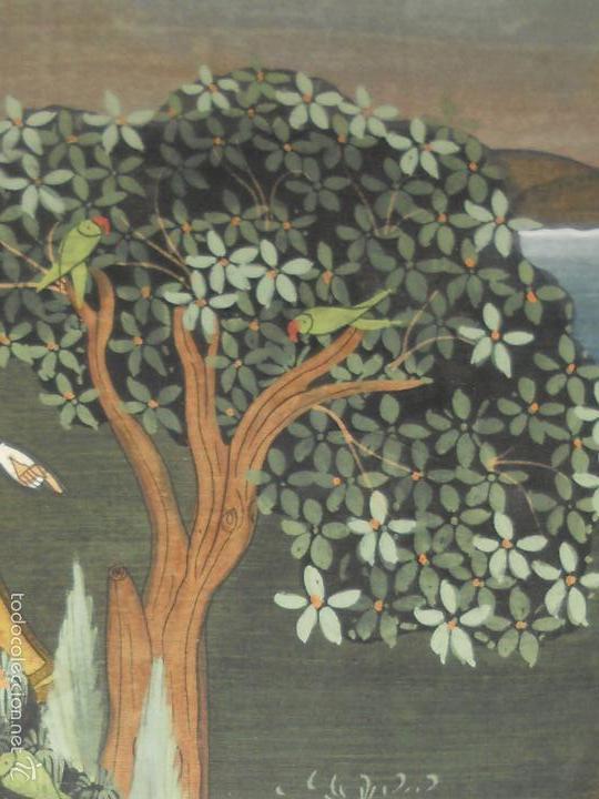 Antigüedades: ANTIGUO TAPIZ DE SEDA PINTADO A MANO CON SU MARCO DE MADERA LACADA - Foto 9 - 59648551