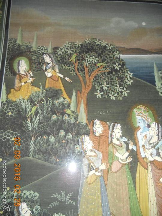 Antigüedades: ANTIGUO TAPIZ DE SEDA PINTADO A MANO CON SU MARCO DE MADERA LACADA - Foto 11 - 59648551