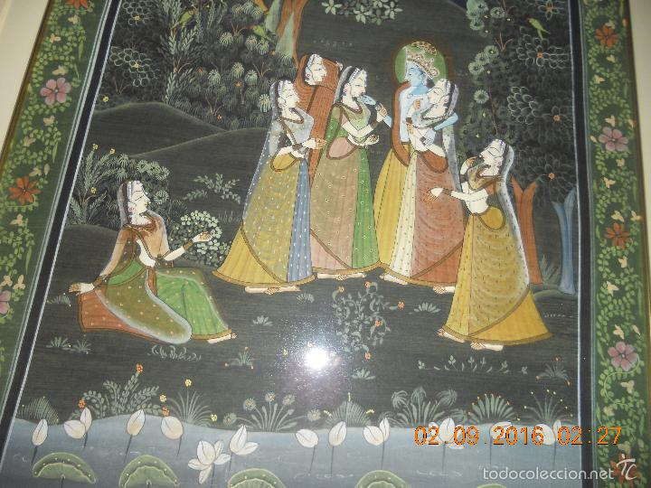Antigüedades: ANTIGUO TAPIZ DE SEDA PINTADO A MANO CON SU MARCO DE MADERA LACADA - Foto 15 - 59648551