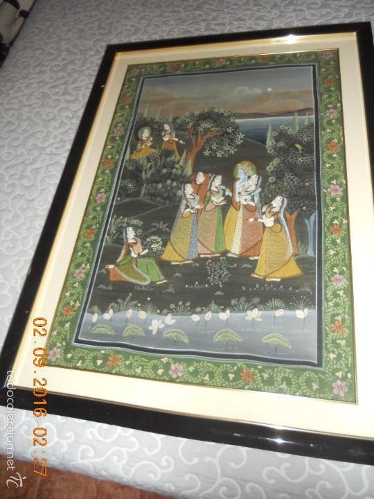 Antigüedades: ANTIGUO TAPIZ DE SEDA PINTADO A MANO CON SU MARCO DE MADERA LACADA - Foto 19 - 59648551