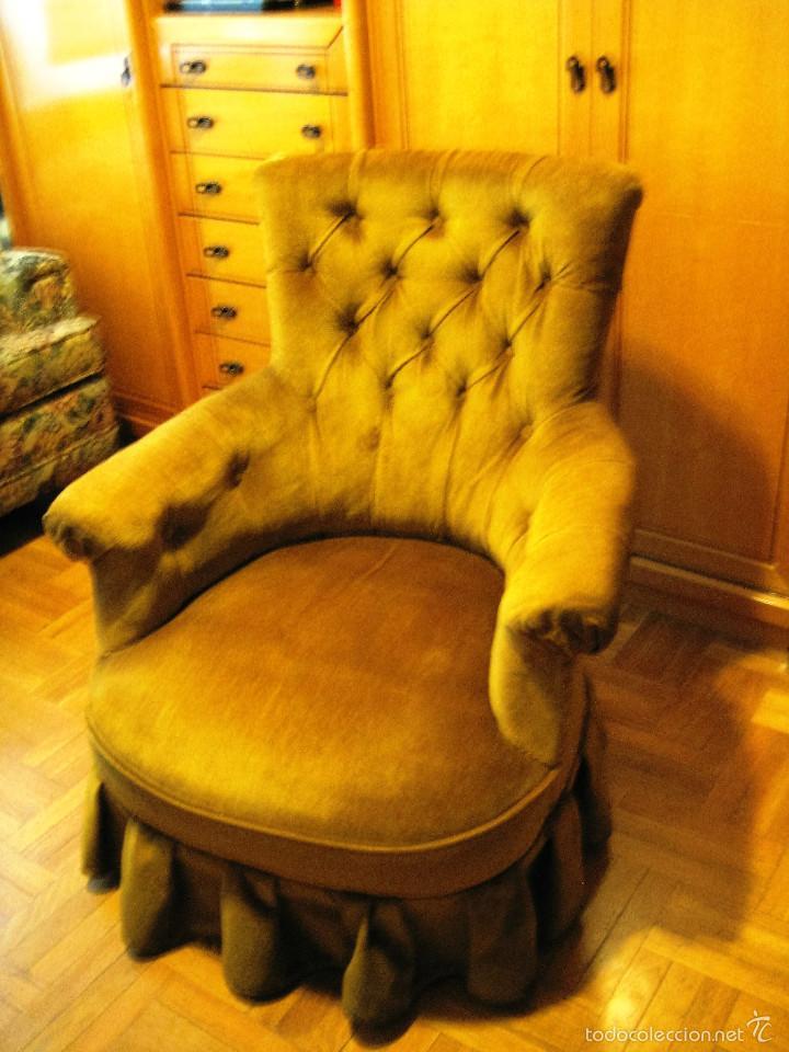 2 sillones capiton tapizados terciopelo pare comprar - Sillones antiguos tapizados ...