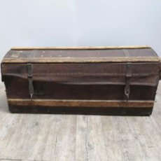 Antigüedades: BAÚL DE VIAJE DE CUERO Y MADERA. ALEMANIA 1850 - 1880. Lote 59663807
