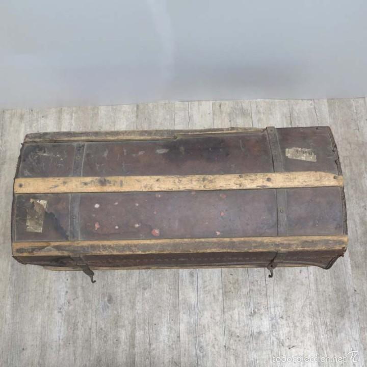 Antigüedades: BAÚL DE VIAJE de cuero y madera. Alemania 1850 - 1880 - Foto 8 - 59663807