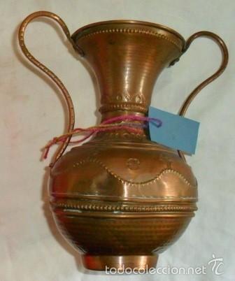 ANTIGUO FLORERO DE COBRE (Antigüedades - Hogar y Decoración - Floreros Antiguos)