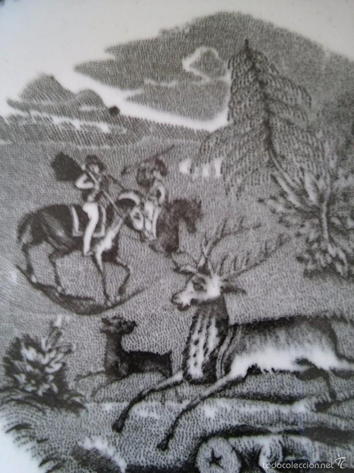 Antigüedades: Plato hondo de la fábrica de Cartagena. Serie caza. 22,5 cm de diámetro. Finales XIX. Impecable. - Foto 4 - 59685819