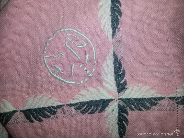 Antigüedades: MANTEL Y 6 SERVILLETAS-ALGODÓN-ROSA-BORDADO INICIALES - Foto 12 - 76277238